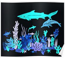 Neon Coral Reef Papercut Poster