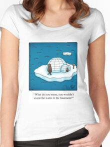 """Funny """"Spectickles"""" Igloo Cartoon Women's Fitted Scoop T-Shirt"""