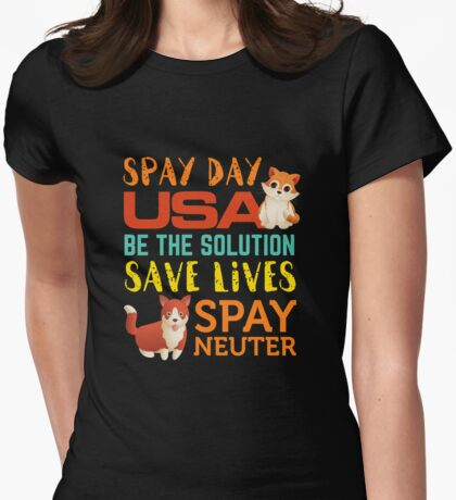 Spay Day USA  Spay Neuter Adopt Womens Fitted T-Shirt