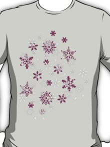 Pink and White Snowflakes With Transparent Background T-Shirt