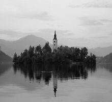 Small island with a church in Slovenia, Lake Bled by cannedmoods