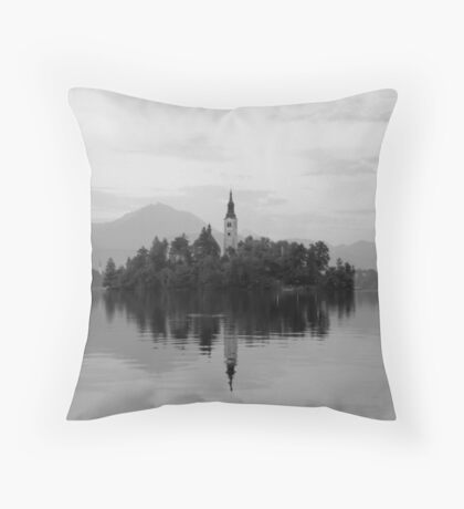 Small island with a church in Slovenia, Lake Bled Throw Pillow