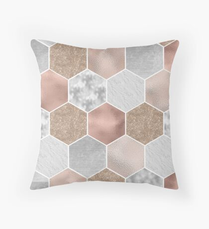 Gentle rose gold and marble hexagons Throw Pillow