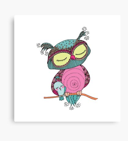 Cute colorful owl and little bird sitting on tree branch Canvas Print