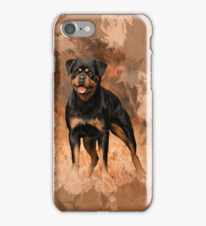 Rottweiler Dog Oil Painting Watercolor Art iPhone Case/Skin
