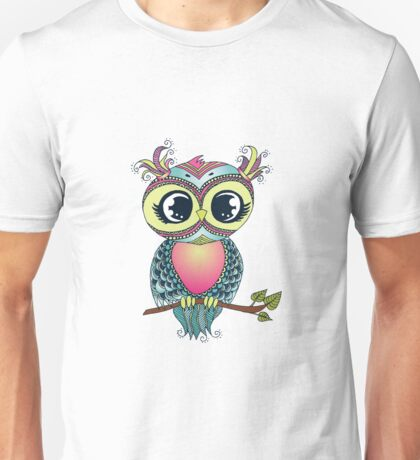 Cute colorful cartoon owl sitting on tree branch Unisex T-Shirt