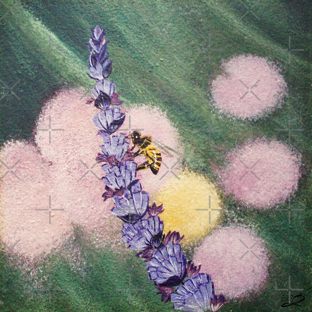 Bee gathering pollen on lavender by georgiegirl