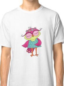 Cute colorful cartoon owl in blue dress Classic T-Shirt