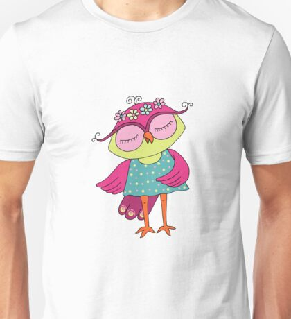 Cute colorful cartoon owl in blue dress Unisex T-Shirt