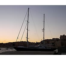 Yacht in night sky Photographic Print