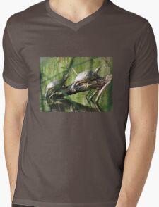 Turtles on Log Mens V-Neck T-Shirt