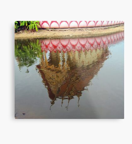 Thailand- Temple Reflection Metal Print