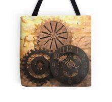 Metal Clocks on Stone Wall Tote Bag