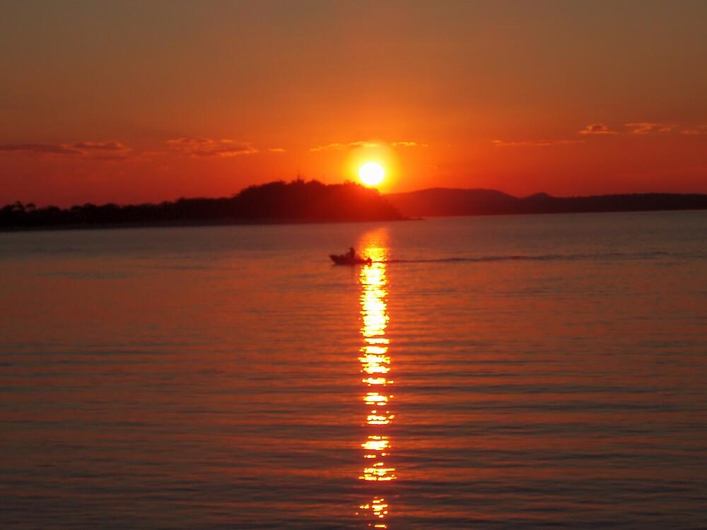 Sunset Boating - Nelson Bay by Paul Lamble