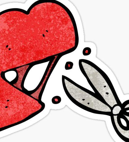 cartoon scissors cutting heart symbol Sticker