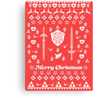 Zelda Christmas Card Jumper Pattern Canvas Print