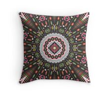 Ornamental round aztec geometric pattern Throw Pillow