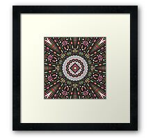 Ornamental round aztec geometric pattern Framed Print