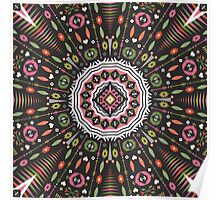 Ornamental round aztec geometric pattern Poster