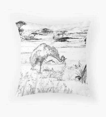 Emund prepares for the Dance - pen and ink Throw Pillow