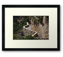winding stone staircase in the mountains Framed Print