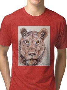 Lion Ball Point Pen Art Tri-blend T-Shirt