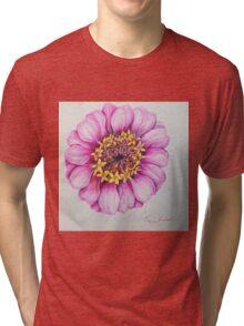 Pink Zinnia Flower In Ball Point Tri-blend T-Shirt