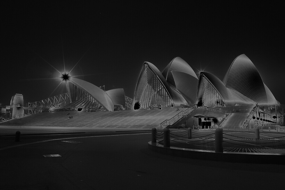 Sydney Opera House floating under solarisation by Achim Casties