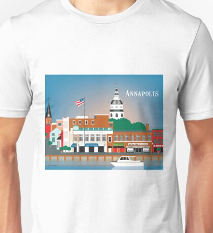 Annapolis, Maryland - Skyline Illustration by Loose Petals Unisex T-Shirt