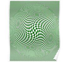 Check Swirl - Green & White Poster
