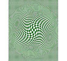 Check Swirl - Green & White Photographic Print