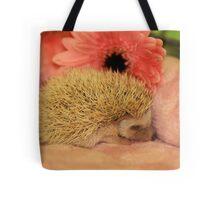 Sleeping Baby Hedgehog Tote Bag