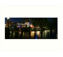 Yarra River and Federation Square with Ferris wheel at night Art Print