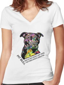 Pitbull BSL Black Women's Fitted V-Neck T-Shirt