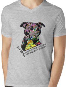 Pitbull BSL Black Mens V-Neck T-Shirt