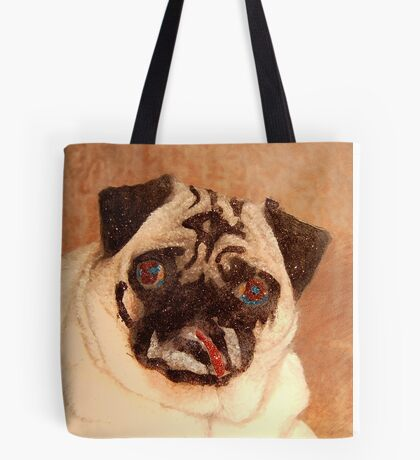 Pug with Glitter Tote Bag