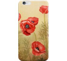 Red Poppies On Cream Square  iPhone Case/Skin