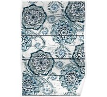 Shabby Chic Navy Blue doodles on Wood Poster
