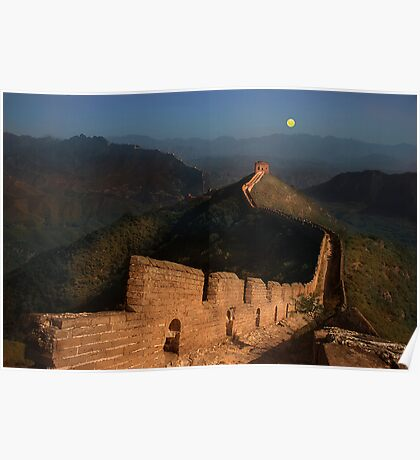 Moonrise over the Great Wall Poster