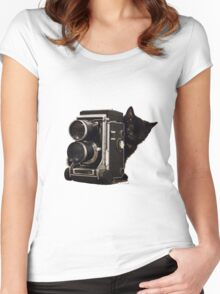 Feline Photographer Women's Fitted Scoop T-Shirt
