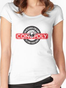 Conopoly—the religious con game! Women's Fitted Scoop T-Shirt