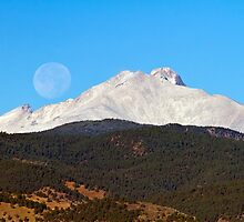 Full Moon Setting Over Snow Covered Twin Peaks  by Bo Insogna