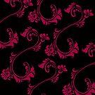 Black with Hot Pink Flower by Julie Everhart by Julie Everhart