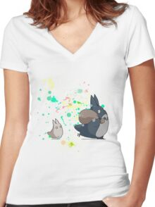 Ink - Totoro Women's Fitted V-Neck T-Shirt