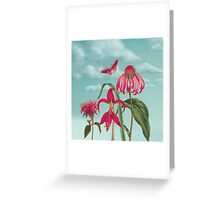 Raspberry Pink Flowers with Turquoise Sky Greeting Card