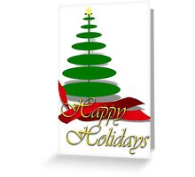 Christmas Tree with Red Ribbon Greeting Card
