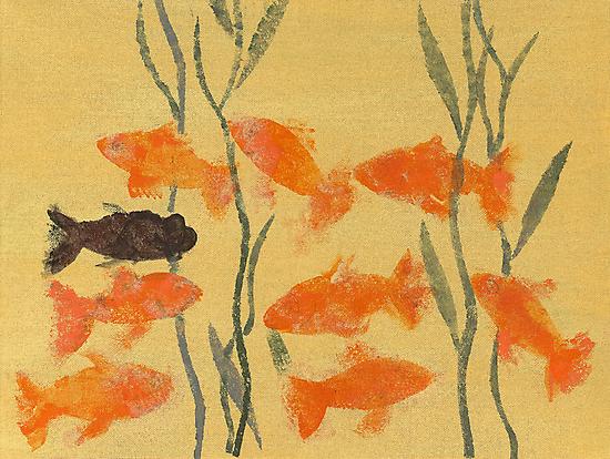 8 Goldfish & 1 Black by energymagic