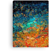 ETERNAL TIDE 2 Bold Rainbow Colorful Deep BlueTurquoise Aqua Orange Yellow Ombre Waves Abstract Acrylic Painting Canvas Print