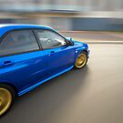 Blue Subaru Impreza WRX rig shot by John Jovic