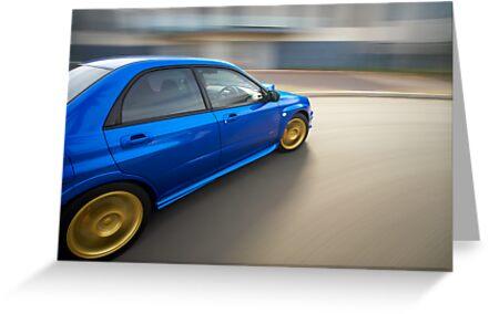 Blue Subaru Impreza WRX rig shot by John Jovic